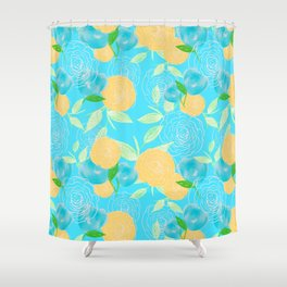 06 Yellow Blooms on Blue Shower Curtain