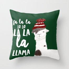Christmas Llama With No Drama Throw Pillow