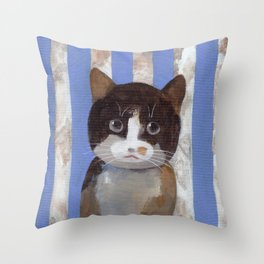 Missy or A Cat with Blue Stripes Throw Pillow