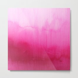 Modern fuchsia watercolor paint brushtrokes  Metal Print