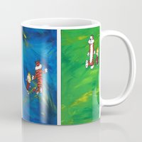 calvin and hobbes Mugs featuring Calvin & Hobbes dancing series by Always Add Color