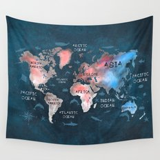 world map 45 Wall Tapestry