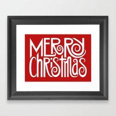 Merry Christmas Text White Framed Art Print