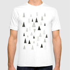Raining Triangles White Mens Fitted Tee MEDIUM