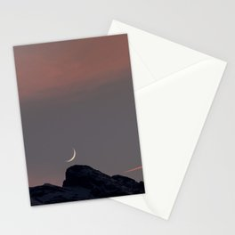 Moonset over the Swiss Alps Stationery Cards