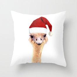 Ostrich Christmas Throw Pillow