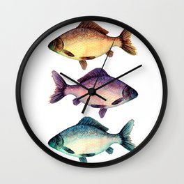 Three colorful fishes Wall Clock