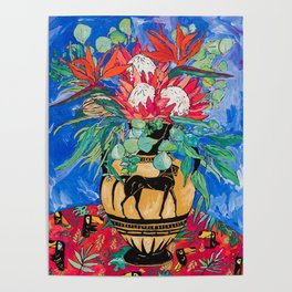Tropical Protea Bouquet with Toucans in Greek Horse Urn on Ultramarine Blue Poster