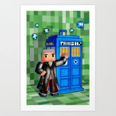 8bit 12th Doctor with Blue Phone box iPhone 4 4s 5 5c 6, pillow case, mugs and tshirt Art Print