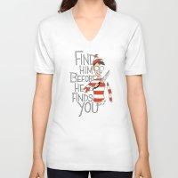 waldo V-neck T-shirts featuring Hiding in the Dark by Dooomcat