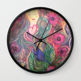 He Loves Us : Best friend with flowers Wall Clock