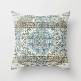 BLUE PATCHWORK MANDALA LA DENTELLE Throw Pillow