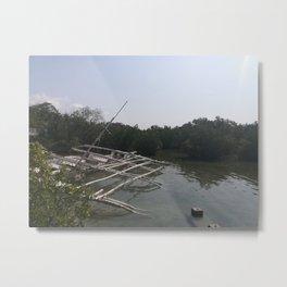 sunken  boat on mangrove Metal Print
