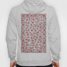Wildflower I // 18th Century Positive Happy Colorful Red Green Botanical Garden Flowery Pattern Hoody