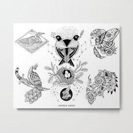 Black and White Tattoo Flash 1 Metal Print