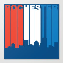 Red White And Blue Rochester New York Skyline Canvas Print