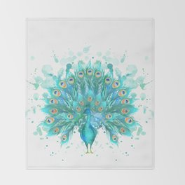 Watercolor Peacock Throw Blanket
