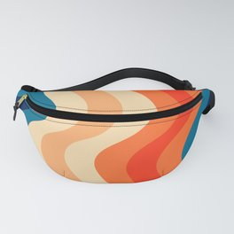 70's and 80's retro colors curving stripes Fanny Pack