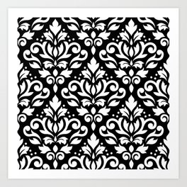 Scroll Damask Big Pattern White on Black Art Print