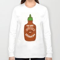 sriracha Long Sleeve T-shirts featuring Sriracha Valentine by Leah Doguet
