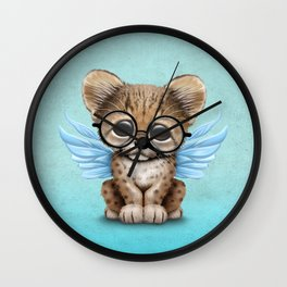 Cheetah Cub with Fairy Wings Wearing Glasses on Blue Wall Clock