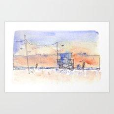 Sunset in Santa Monica Art Print