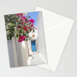 Blue Door with Pink Flowers Santorini Greece Stationery Cards