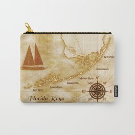 Vintage Nautical Florida Keys Map Carry-All Pouch