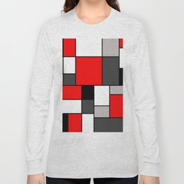 Red Black and Grey squares Long Sleeve T-shirt