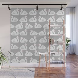 Swan minimal pattern print grey and white bird illustration swans nursery decor Wall Mural
