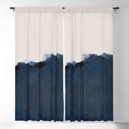 Abstract, blue, beige, indigo Blackout Curtain