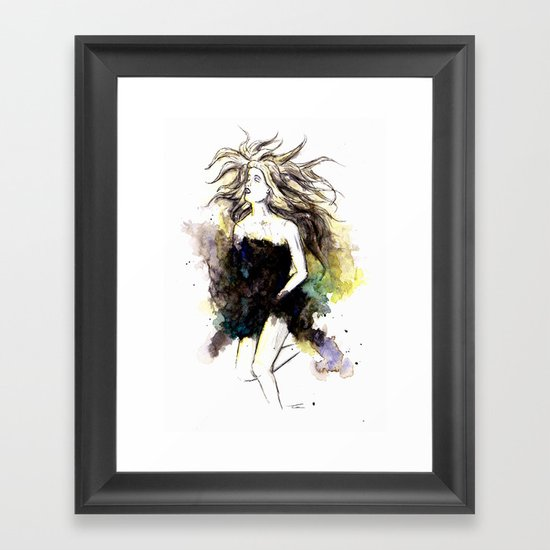 Watercolor Girl Framed Art Print