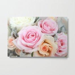Pink and Peach Roses Metal Print