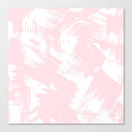 Blush pink white modern watercolor brushstrokes Canvas Print
