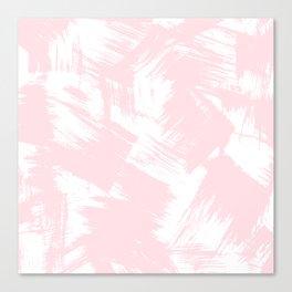 Blush pink white modern watercolor brushstrokes Canvas Print