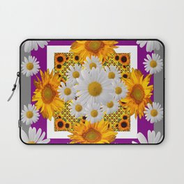 GREY & WHITE DAISIES FLORAL ABSTRACT & YELLOW SUNFLOWERS Laptop Sleeve