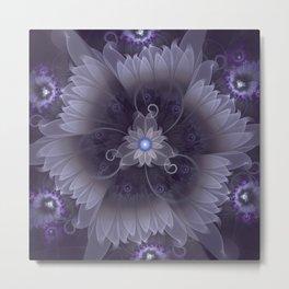 Amazing Fractal Triskelion Purple Passion Flower Metal Print