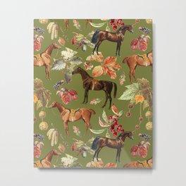 HORSES & Guacamone background  Metal Print