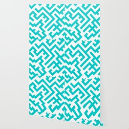 White and Cyan Diagonal Labyrinth Wallpaper