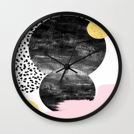 Roussel - pink pastel girly hipster trendy art decor dorm college brooklyn abstract minimal painting Wall Clock
