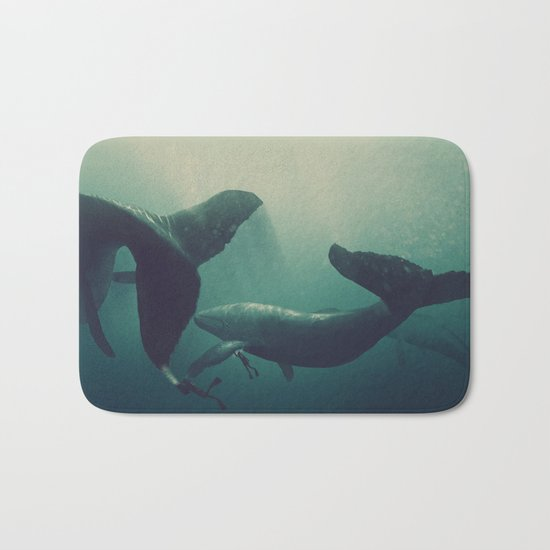 Swimming with whales Bath Mat