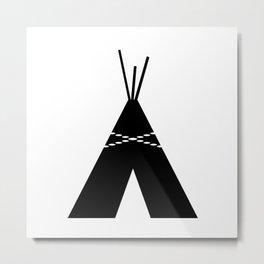 Black & White Teepee Metal Print