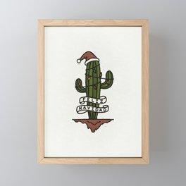 Feliz Navidad Santa Cactus Framed Mini Art Print