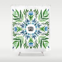 badger Shower Curtains featuring Woodland Badger by BridJess
