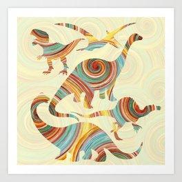 Vibrant Dinosaurs Art Print