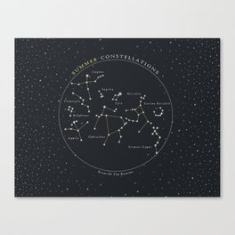 Summer Constellations Astronomy Star Chart Canvas Print