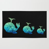 emoji Area & Throw Rugs featuring Geometric Whale emoji by Laughing Peacock