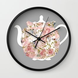 French Script and Roses Tea Cozy Wall Clock