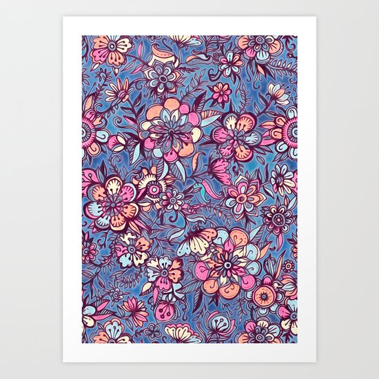 Sweet Spring Floral - soft indigo & candy pastels Art Print