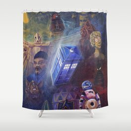 """""""13 in 50"""" a Tribute to Doctor Who Shower Curtain"""